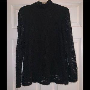 Black lace blouse top 1 L large Chico's